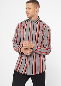Black Striped Button Down Shirt