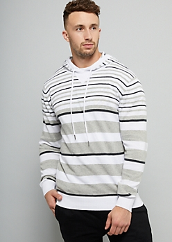 White Striped Sweater Hoodie