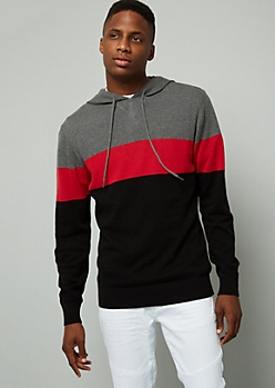 Black Colorblock Pattern Sweater Hoodie