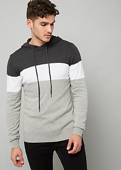 Gray Colorblock Pattern Sweater Hoodie