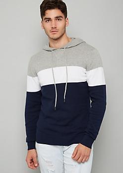Navy Colorblock Pattern Sweater Hoodie