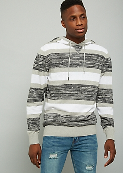 Gray Space Dye Striped Sweater Hoodie