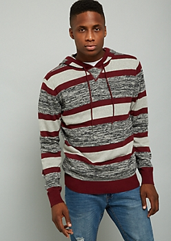 Burgundy Space Dye Striped Sweater Hoodie