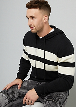 Black Striped Sweater Hoodie