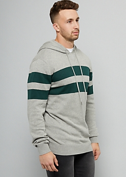 Heather Gray Striped Sweater Hoodie