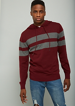 Burgundy Striped Sweater Hoodie