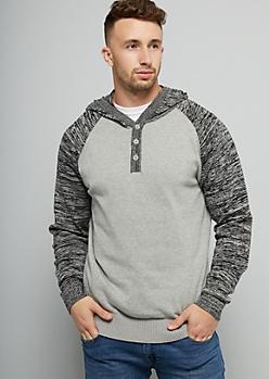Gray Raglan Sleeve Buttoned Hooded Sweater
