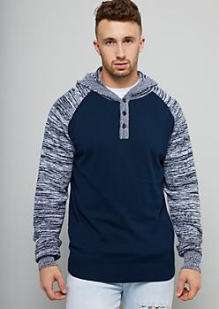 Navy Raglan Sleeve Buttoned Sweater Hoodie