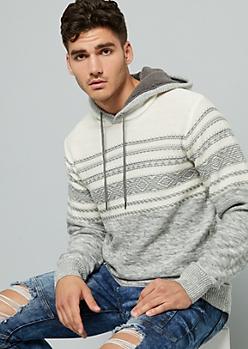Gray Striped Fair Isle Print Hacci Hooded Sweater