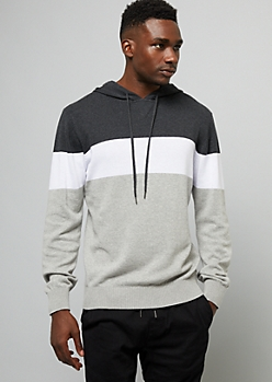 Gray Colorblock Sweater Hoodie