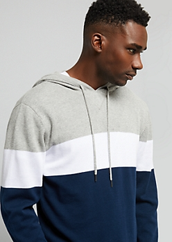 Navy Colorblock Sweater Hoodie