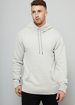 Heathered White Pullover Hooded Sweater