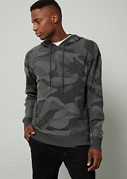 Gray Camo Print Hooded Sweater