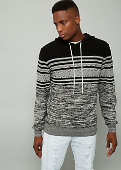 Black Ikat Striped Sweater Hoodie