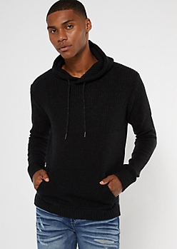 Black Marled Waffle Knit Hooded Sweater