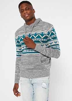 Gray Ikat Pattern Hooded Sweater