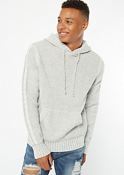 Gray Cable Sleeve Hooded Sweater