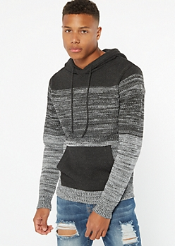 Gray Colorblock Ombre Hooded Sweater