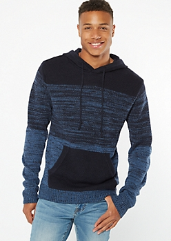 Navy Space Dye Ombre Hooded Sweater