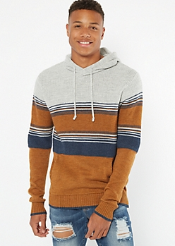 Burnt Orange Striped Hooded Sweater