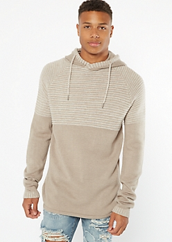 Sand Colorblock Hooded Sweater