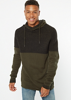 Olive Colorblock Hooded Sweater