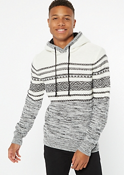 White Ikat Striped Sherpa Hooded Sweater