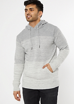 Gray Colorblock Hooded Sweater
