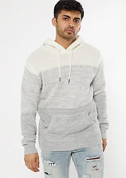 Oatmeal Heather Colorblock Hooded Sweater