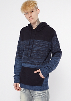 Blue Colorblock Hooded Sweater