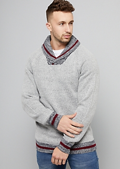 Gray Striped Ribbed Knit Shawl Collar Sweater