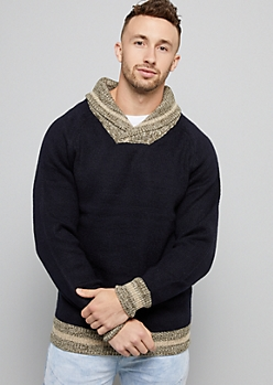 Navy Striped Ribbed Knit Shawl Collar Sweater
