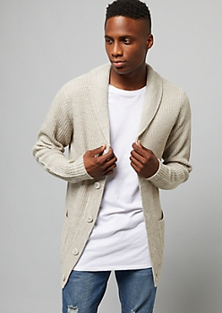 Heathered Oatmeal Shawl Cardigan