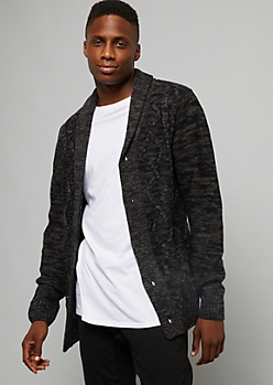 Heathered Black Cable Knit Shawl Cardigan