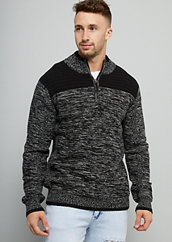 Black Marled Knit Half Zip Sweater