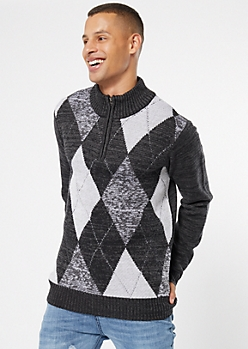 Gray Argyle Half Zip Sweater