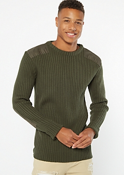 Dark Green Ribbed Knit Utility Patch Sweater