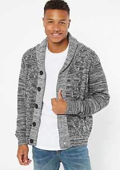 Gray Space Dye Cable Knit Cardigan