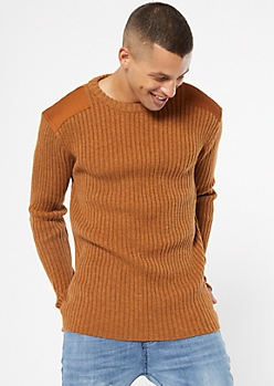 Cognac Ribbed Knit Patched Sweater