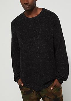 Black Speckled Rib Knit Sweater