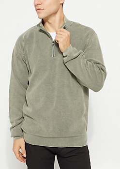 Olive Waffle Knit Quarter Zip Sweater