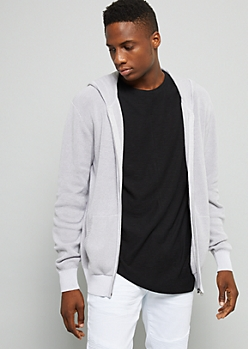 Gray Ribbed Knit Hooded Cardigan