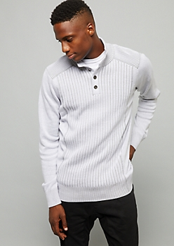 Light Gray Ribbed Knit Henley Sweater