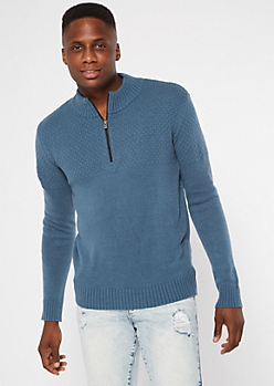 Blue Quarter Zip Sweater