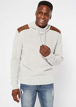 Oatmeal Heather Shoulder Patch Sweater