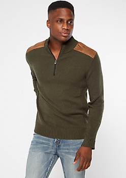 Olive Shoulder Patch Quarter Zip Sweater