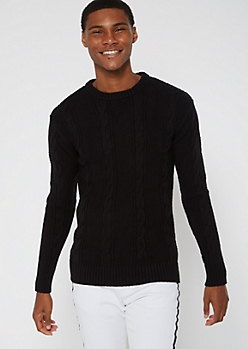 Black Slim Fit Cable Knit Sweater
