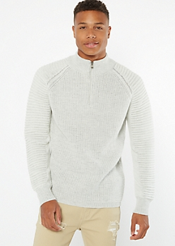 Oatmeal Moto Sleeve Quarter Zip Sweater