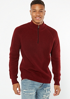 Burgundy Moto Sleeve Quarter Zip Sweater