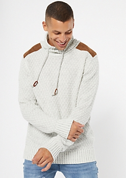 Oatmeal Marled Shoulder Patch Cowl Neck Sweater
